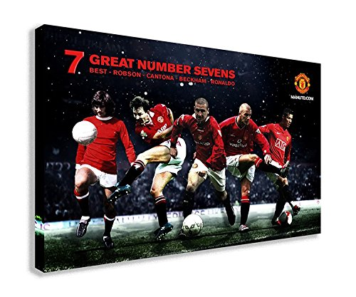 "MANCHESTER UNITED NUMBER 7 CANVAS WALL ART (30"" X 18"" / 75 X 45cm)"