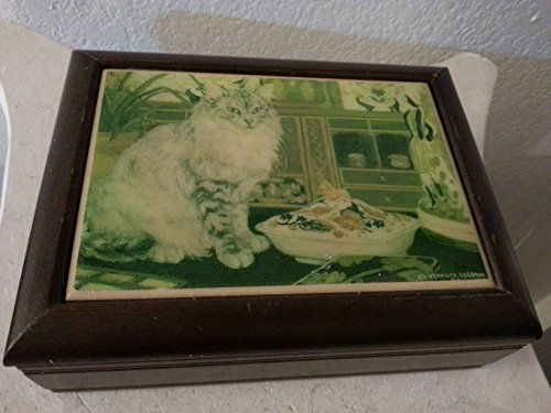 (Constance Coleman Musical Jewelry Box with Cat on Tile Top )