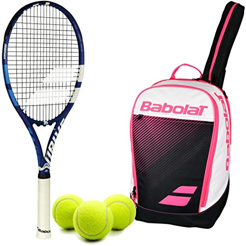 Babolat Drive G Lite Tennis Racquet (Blue) in Grip Size 1 Bundled with a Club Line Tennis Backpack in Pink and a can of ITF Regulation Tennis Balls