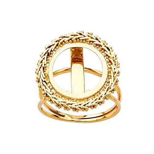 - Ioka - 14K Solid Yellow Gold 2 Bola Peso Coin Bola Ring - Size 4