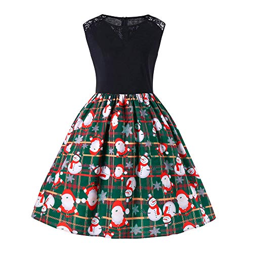 Moko-PP Women Merry Christmas Sleeveless Santa Snowman Claus Party Swing Dress