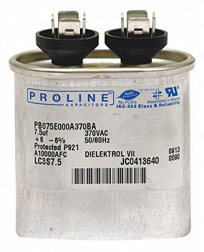 PROLINE Oval Motor Run Capacitor,12.5 Microfarad Rating,370VAC Voltage