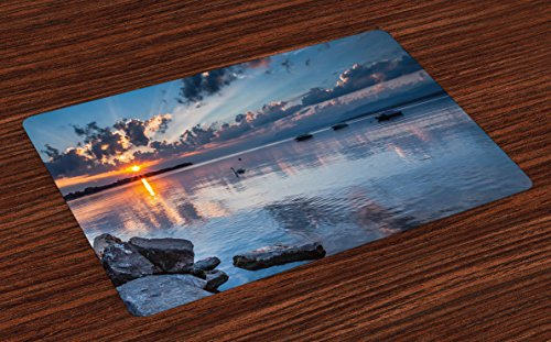 Lunarable Landscape Place Mats Set of 4, Sun Rising at Lake Geneva Switzerland Seascape Cloudy Sky Scenic View Photo, Washable Fabric Placemats for Dining Room Kitchen Table Decor, Blue Grey Orange