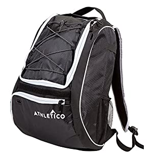 Athletico Baseball Bat Bag - Backpack for Baseball, T-Ball & Softball Equipment & Gear for Kids, Youth, and Adults | Holds Bat, Helmet, Glove, & Shoes | Separate Shoe Compartment, & Fence Hook (Black)