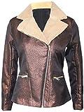 Attuendo Women's Shearling Biker Jacket (Medium (US Size:6))