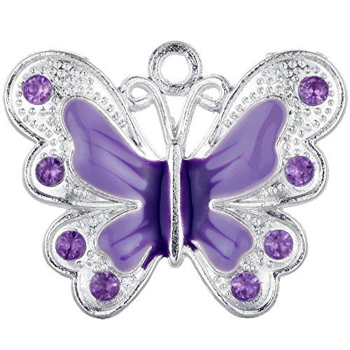 RUBYCA Silver Plated Small Butterfly Enamel Charm Beads Pendants for Jewelry Making DIY 14pcs Purple (Purple Rhinestone Charm)