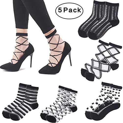 Fishnet Transparent Socks for Women - 5 Pairs of Mesh Ankle Socks, Short Stocking, Great Lace Socks Selection Black 1
