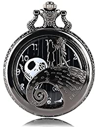 Vintage Black Nightmare Before Christmas Quartz Pocket Watch with Chain, Men Women Pocket Watch with Box for Christmas Gift
