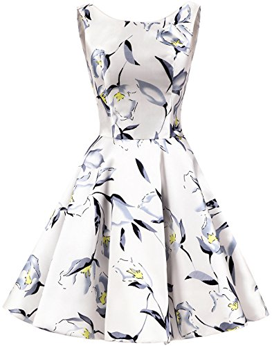 Erosebridal Weiß Blumen Rundhalsausschnitt Damen Einfach Knielang Retro Vintage Kleid qwHrqz
