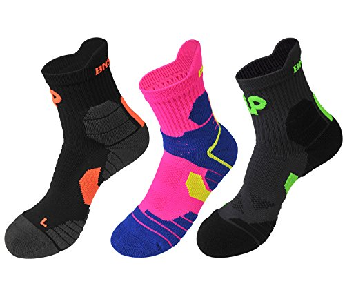 Men Women Outdoor Sport Elite Athletic Running Cushioned Quarter Sock (3 Pairs) Style (Ladie Crimson Arch)