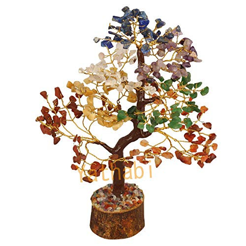 YATHABI Seven Chakra Feng Shui Gemstone Healing Crystal Money Tree Bonsai Fortune for Good Luck, Wealth Prosperity Spiritual Gift & Home Decor Golden Wire (Size:- 10-12 Inch)