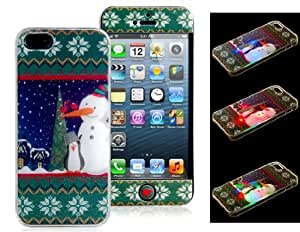 3D Snowman Plating Call Flash Light Plastic Protective Case & Front Sticker Set for iPhone 5S/5