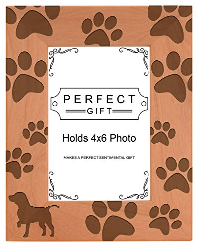 Dog Lover Gift Beagle Silhouette Paw Prints Natural Wood Engraved 4x6 Portrait Picture Frame Wood
