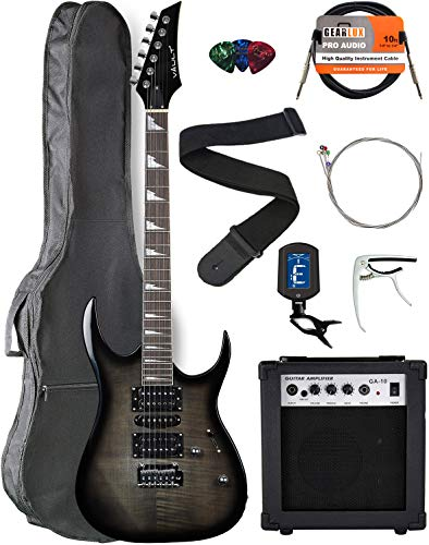Vault RG1-E Transparent Black Electric Guitar with Ovangkol Neck Bundle with Gig Bag, 10w Amp, Strap, Tuner, Strings, Instrument Cable, Capo, and Picks