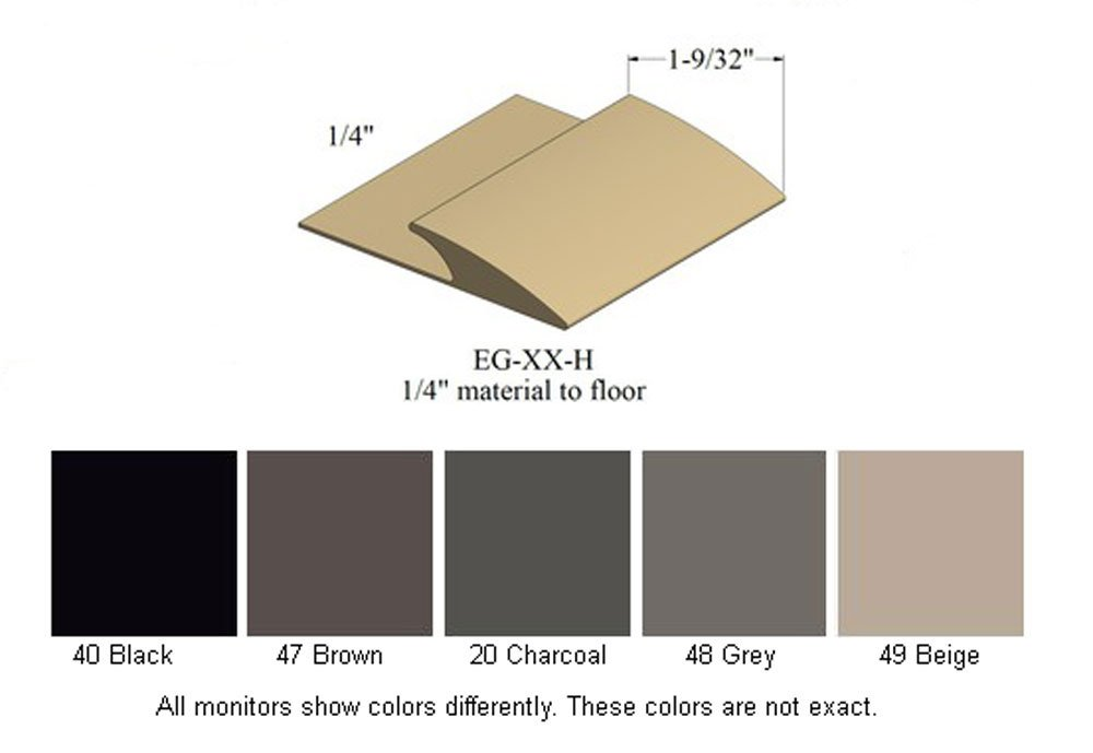 Johnsonite Edge Guard (EG-XX-H) for 1/4'' Material to floor - 5 colors to choose from (Black)