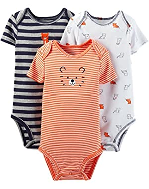 Just One You Baby Girls' 3 Pack Orange Tiger/Print Bodysuits