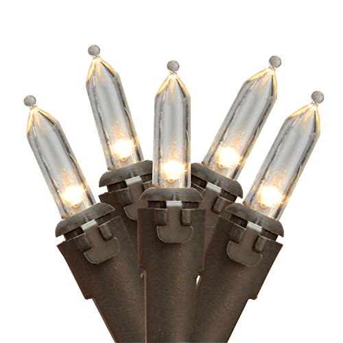 "Northlight Set of 50 Warm White LED Mini Christmas Lights 4"" Spacing - Brown Wire"