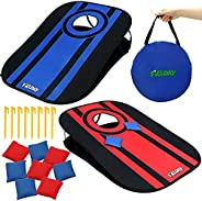 JOYIN Portable Cornhole Set Red and Blue, Collapsible Outdoor Bean Bag Game Boards (3 Feet x 2 Feet), Includes