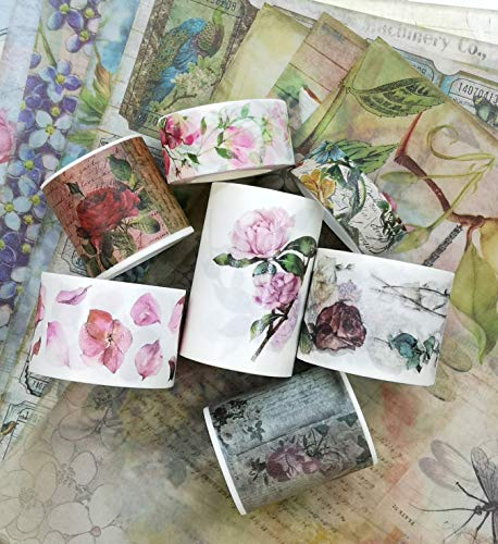 Antique Rice - Vintage Antique Roses and Florals washi Tape (7 Rolls) and Scrapbook Paper Set. Limited Edition. INCL Extra Wide Tape!
