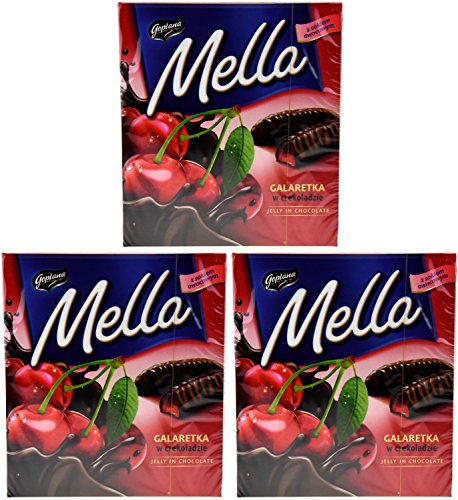 Chocolate Covered Jelly - Goplana Mella Cherry Jelly in Chocolate (Pack of Three) 6.7 Ounces Each