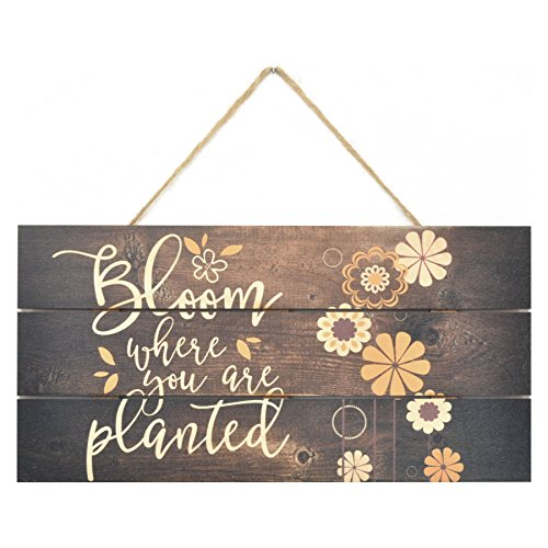 MRC Wood Products Bloom Where You are Planted Wooden Plank Sign 5x10