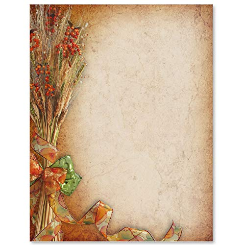 Fall Favorite Letterhead, 8 1/2 x 11 Inch, Autumn Design, 28lb 100 Count Laser and Inkjet Compatible Paper