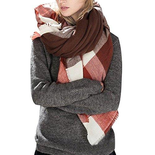 Fall Tartan - Bess Bridal Women's Plaid Blanket Winter Scarf Warm Cozy Tartan Wrap Oversized Shawl Cape (One Size, Burgundy)
