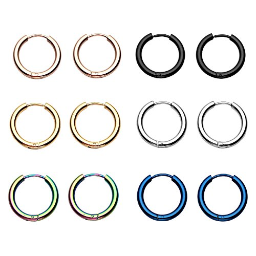 JSDDE 6pcs Boucle d'Oreille Set Unisex Anneau Tube Circulaire Acier Inoxydable Or Rose Bleu Multicolore Or Argent Noir 14mm