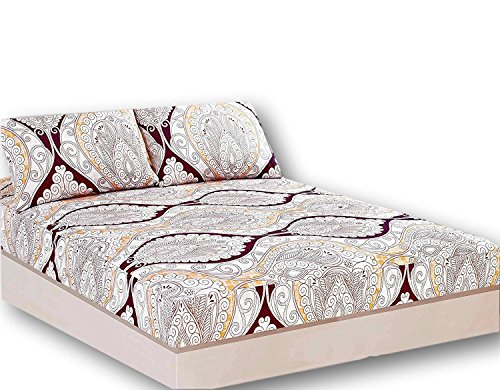 - Tache Paisley Damask Burgundy Ivory Fitted Sheet Only - Maroon Mandala - Luxurious Microfiber Deep Pocket Sheet with Pillowcases - 3 Piece Set - Queen