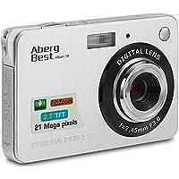 AbergBest Appareil Photo 21 Mega Pixels 2.7 LCD Rechargeable HD Digital Camera Caméra vidéo numérique pour Les étudiants, Les Enfants, Les Adultes (Argent)