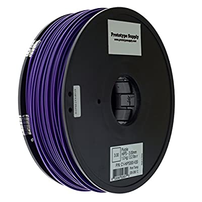 Prototype Supply 3mm HIPS Purple 3D Printing Filament, 1kg (2.2 pounds)