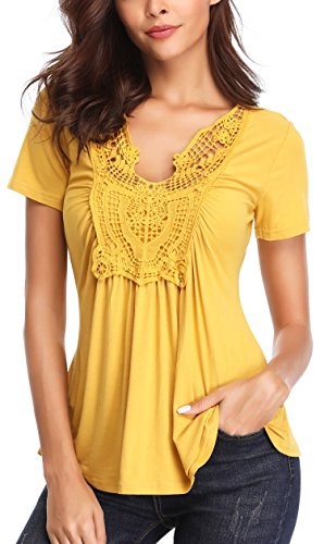 MISS MOLY Women's Summer Ruched Front Short Sleeve Lace Casual V Neck Cute Slim Peplum Plus Size Tops Shirt Tees Yellow S