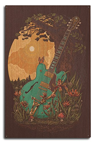 Guitar and Tree (10x15 Wood Wall Sign, Wall Decor Ready to (15w Retro Guitar)