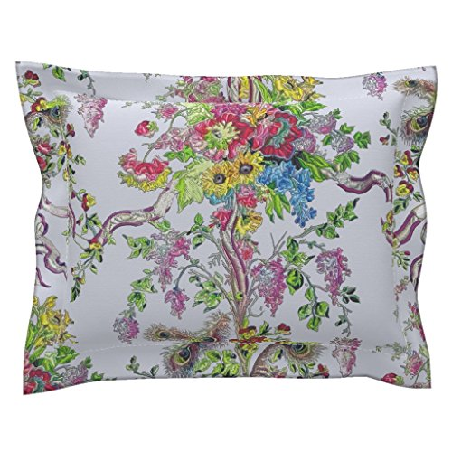 Roostery Rococo Standard Flanged Pillow Sham Rococo: Marie Antoinette's Boudoir - Embroidered by Bonnie Phantasm Natural Cotton Sateen Made - Boudoir Pillow Flanged