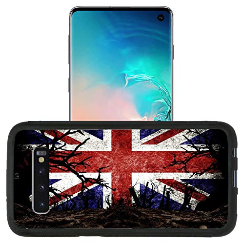 Luxlady Premium Case Designed for Galaxy S10 (2019) TPU Backplate with Silicone Rubber Bumper Case - Image ID 31510476 Halloween Festival and United Kingdom Flag Background