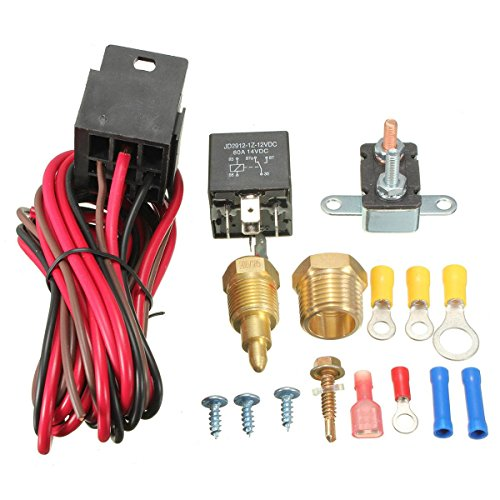 MATCC 185~200 Degree Engine Cooling Fan Thermostat Temperature Switch Sensor Relay Kit