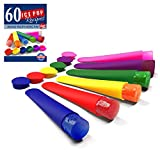 Silicone Ice Pop Molds and Popsicle Maker, Set of 6, Assorted Colors, Plus 60 Recipes Ebook