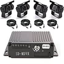 Wen&Cheng 4CH Mobile AHD DVR 4G GPS Realtime Video/Audio Recorder with Remote Control + 4 pcs Waterproof 18 IR LED Camera + 4pcs Cables Surveillance Kit for Car Bus Truck Security Tracking Recording