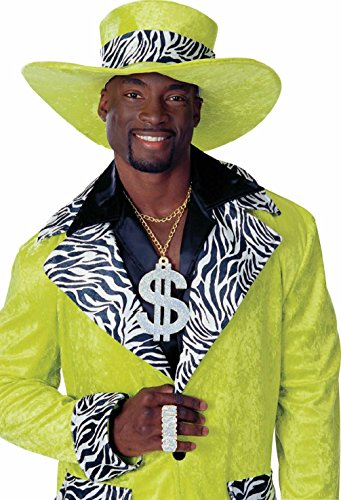 [Pimp Big Daddy Zebra Print Velvet Lime Green Top Hat Adult Costume Accessory] (Pimp Hat With Feather)
