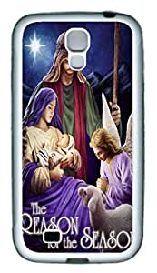 Galaxy S4 Case, Personalized Custom Protective Soft Rubber TPU White Edge Jesus Case Cover for Samsung Galaxy S4 I9500