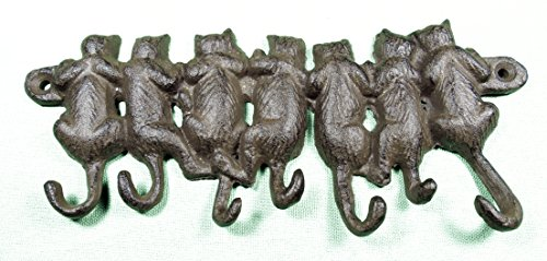 Cast Iron 7 Cats Hanging from A Limb w/ 7 Hooks Cat Tail Cat Lovers Pet Lovers Shabby Chic Vintage Farmhouse Hooks, Excellent for Coats, Bags, Hats, Towels, Scarf's and More by Ashes to Beauty