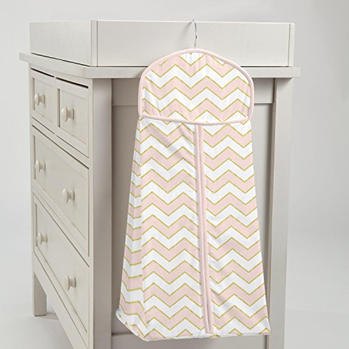 Carousel Designs Pale Pink and Gold Chevron Diaper Stacker by Carousel Designs