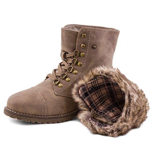 Damen Winter Schnür Boots Schuhe Stiefel mit Kunstfell in Lederoptik warm gefüttert Khaki Paris