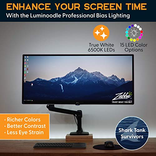 """Luminoodle Professional Bias Lighting for HDTV, 15 Colors + 6500K True White LED TV Backlight, Adhesive RGB+W Strip Lights with Wireless Remote, Dimmer - Pro - XX-Large (60""""-80""""TV)"""
