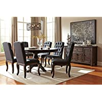 Trudill Casual Wood Dark Brown Color Dining Room Set: Round Extension Table, 6 Dark Gray Chairs