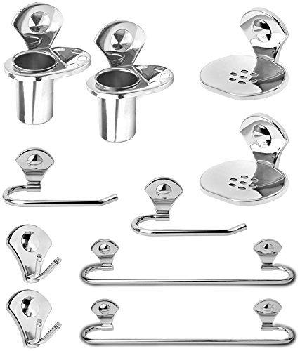 Fortune Premium 10 - Pieces Stainless Steel Bathroom Accessories Set/Towel Ring/Robe Hook/Towel Rack/Towel Bar/Soap Dish/Tumbler Holder (Set of 2)