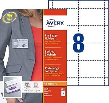 327b9c23302a6 Avery - 4831 - 100 badges avec épingle - plastique souple transparent+ 104  inserts micro perforés imprimables en planche A4 - 60x90 mm