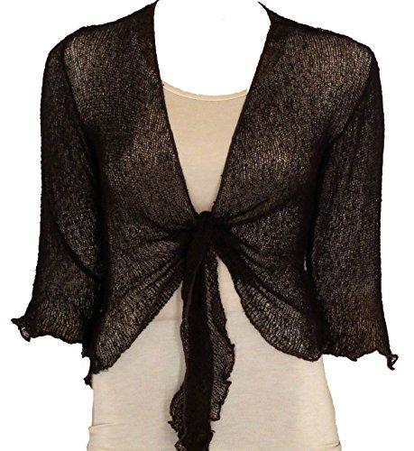a bolero vestibilità maglia Coprispalle maglia traforata da lavorato donna Chocolate Dark in ampia wZxqOd0zq