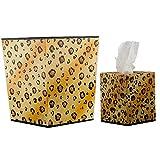 Home decor. Gold and Black Trash Can, Tissue Box Set. Pattern: Wild Skin.