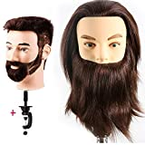 Male Mannequin Head 100% Human Hair Hairdresser Training Head Manikin Cosmetology Doll Head (Table Clamp Stand Included) HF0408S